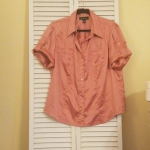 Inc. Women's Satin Like Blouse, Button up